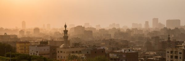 Cairo city at dusk, taken from Al Azhar park